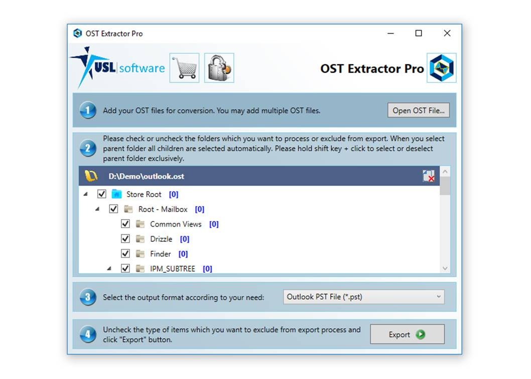 ost format to pst